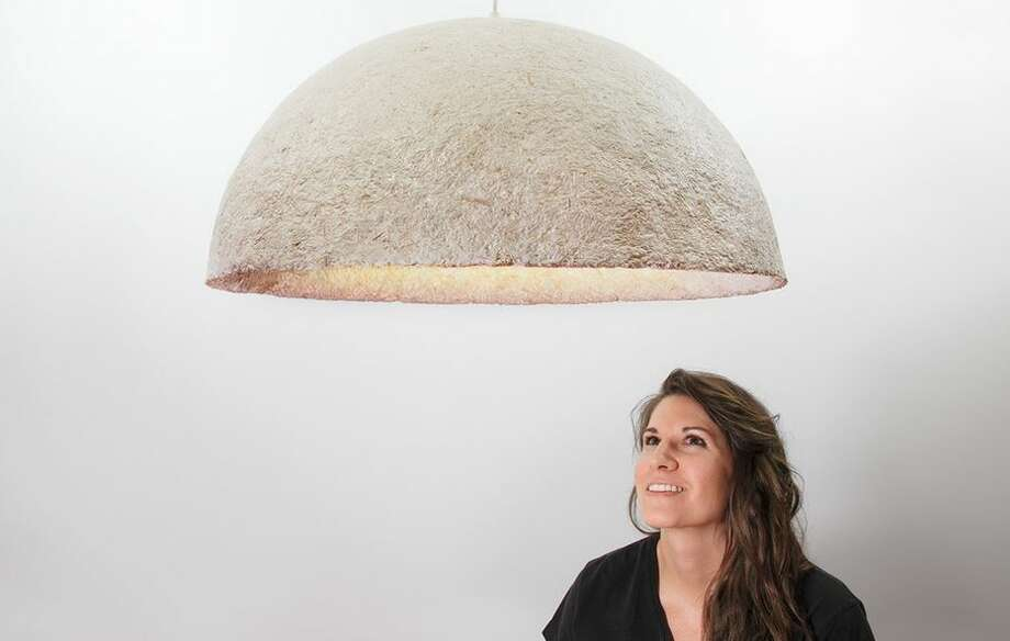 Danielle Trofe, a Brooklyn interior designer, makes lamps out of Ecovative's mushroom material Photo: Rulison, Larry