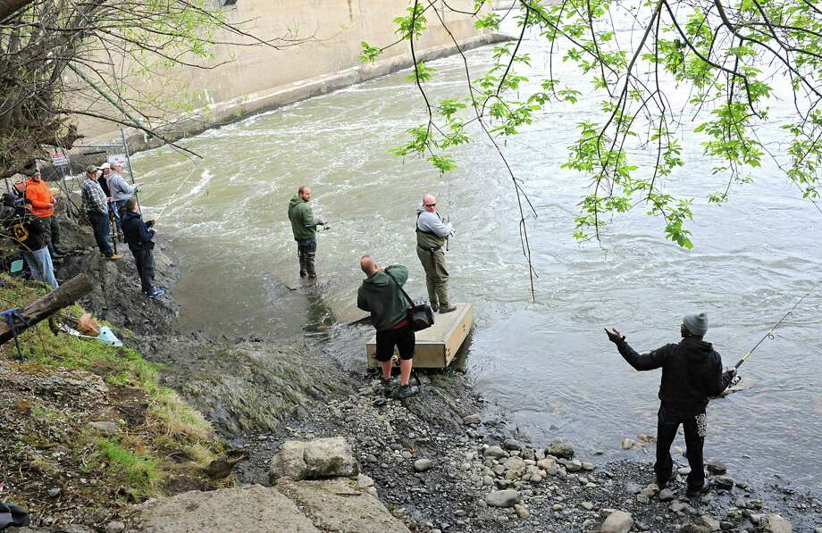Anglers line the shore of the Hudson River near the Cohoes Dam on Thursday, May 5, 2016 in Green Island, N.Y. It's the stripe bass migration season. (Lori Van Buren / Times Union) Photo: Lori Van Buren
