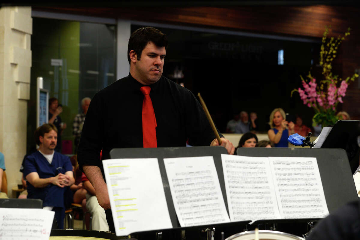 Percussionists perform during the Symphony of Southeast Texas'