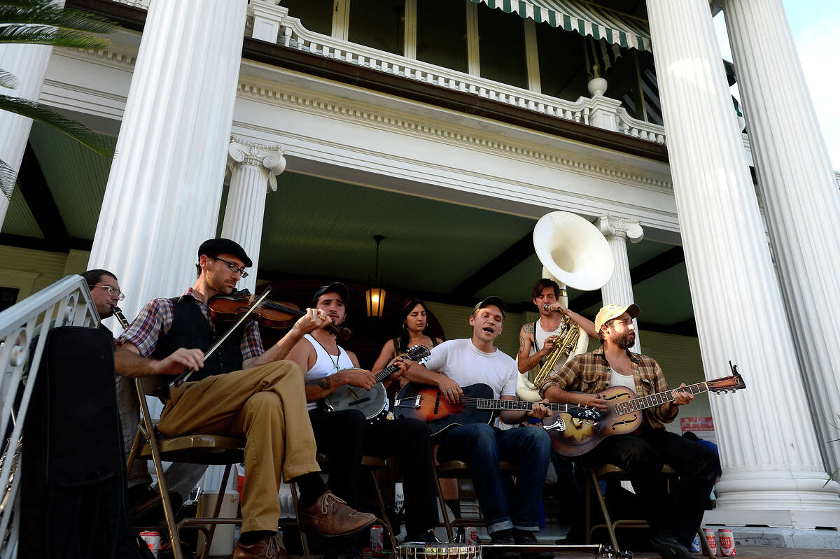The Sluetown Strutters of New Orleans perform during the spring picnic on the lawn of the McFaddin-Ward House on Thursday evening. Photo taken Thursday 5/5/16 Ryan Pelham/The Enterprise