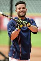 Houston Astros' Jose Altuve smiles during batting practice before a baseball game against the Minnesota Twins, Monday, May 2, 2016, in Houston. (AP Photo/Eric Christian Smith)