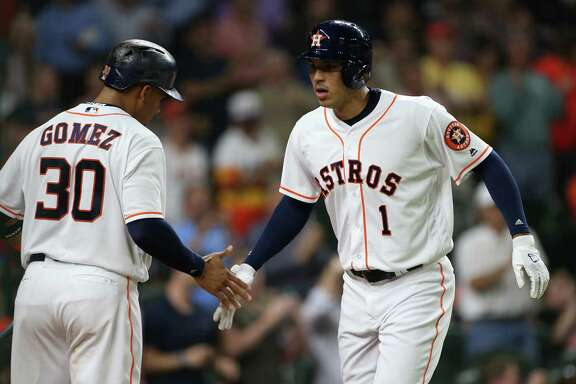 "Astros TV analyst Alan Ashby said he's ""hoping that the bats are starting to wake up"" with the team's heavy hitters, including Carlos Gomez and Carlos Correa, right."