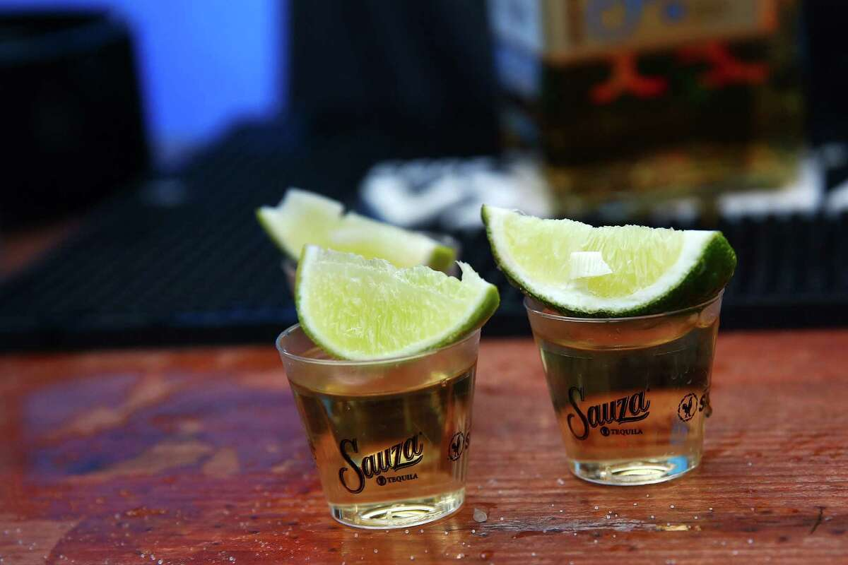 Tequila shots are ready to be imbibed at the annual Cinco de Mayo block party hosted by the Green Lake Tacos Guaymas, May 5, 2016. The party featured food, drinks, and various djs, bands and dance performances.