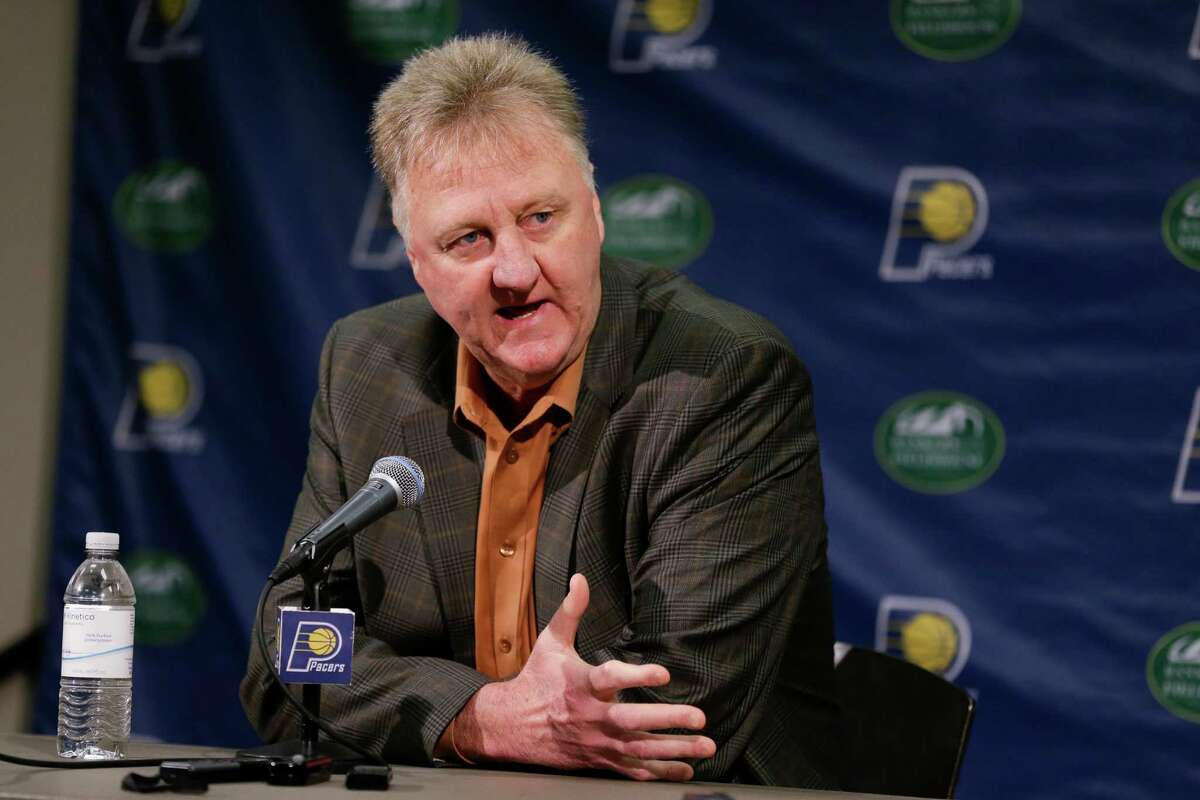 Indiana Pacers president of basketball operations Larry Bird announces that the team will not renew the contract of head coach Frank Vogel during a press conference in Indianapolis, Thursday, May 5, 2016. (AP Photo/Michael Conroy)