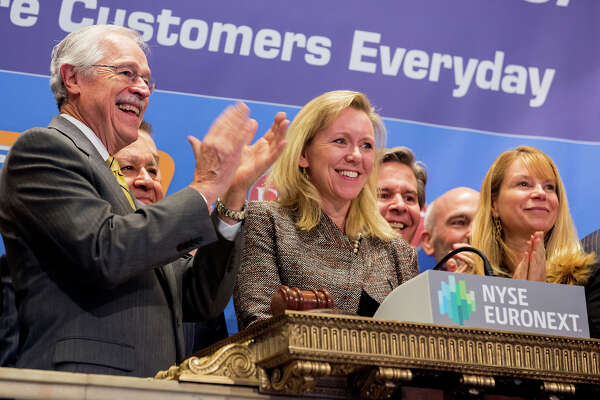 Kim Lubel, CEO of CST Brands, rings the opening bell at the New York Stock Exchange in 2013. Strong fuel margins and merchandise sales made the first quarter a profitable one for San Antonio-based CST.
