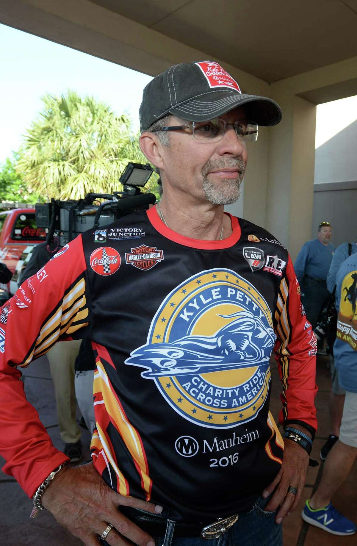 Kyle Petty and numerous motorcyclists rode into Beaumont Thursday as part of Kyle Petty Charity Ride Across America. The event raises money for Victory Junction. Photo taken Thursday, May 05, 2016 Guiseppe Barranco/The Enterprise