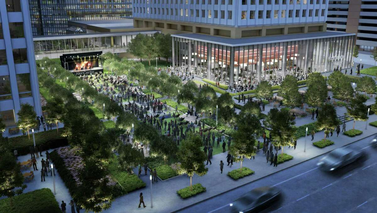 """Paul Frazier of Brookfield Property Partners sees the revamped Allen Center green space as """"a neighborhood gathering space."""""""
