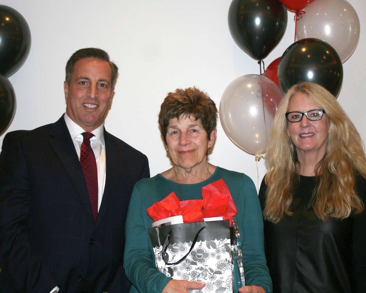 Suzanne Darula, Health Coordinator, RN at River House Adult Day Center, Cos Cob, accepting her award.