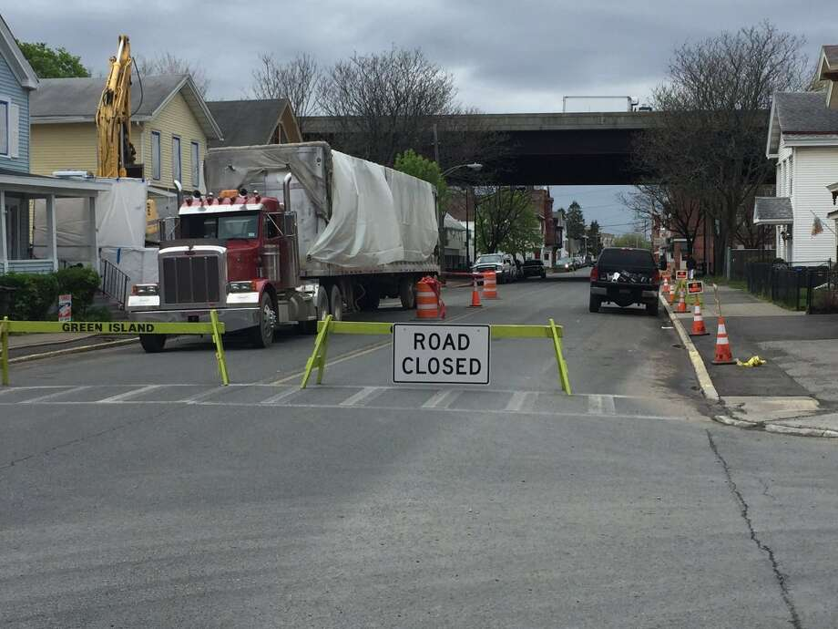 George Street in Green Island, closed to traffic between Clinton and Market streets on Friday, May 6, 2016, due to an emergency building demolition. (Kenneth C. Crowe II/Times Union)