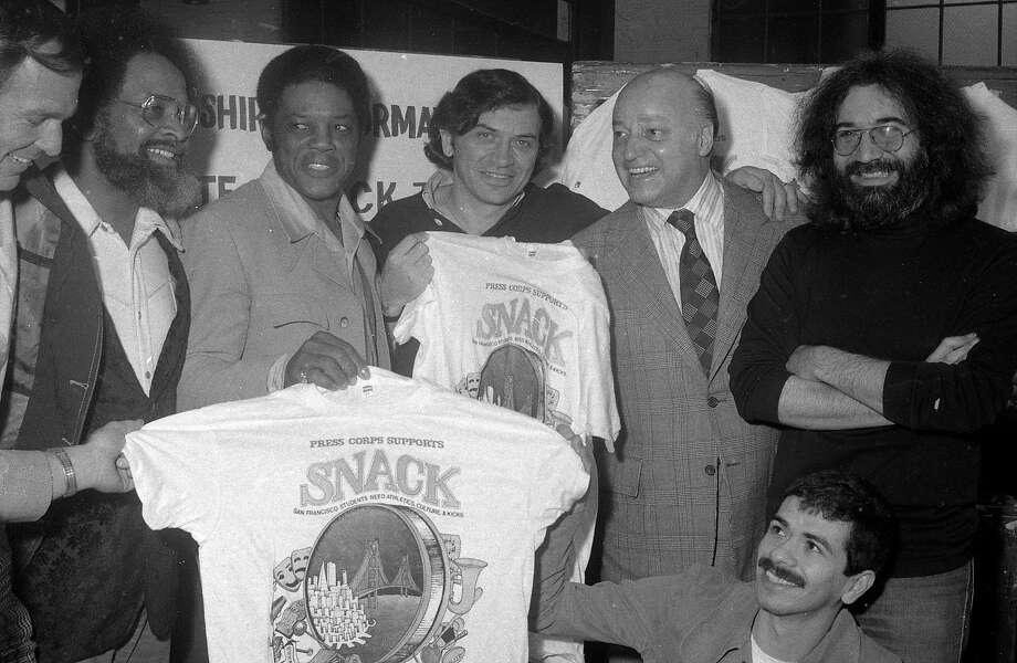 A press conference to announce a concert to benefit San Francisco School Sports, organized by Bill Graham with the support of Mayor Joe Alioto, Willie Mays, Cecil Williams, Jerry Garcia and Carlos Santana on February 19, 1975. Photo: Clem Albers, The Chronicle