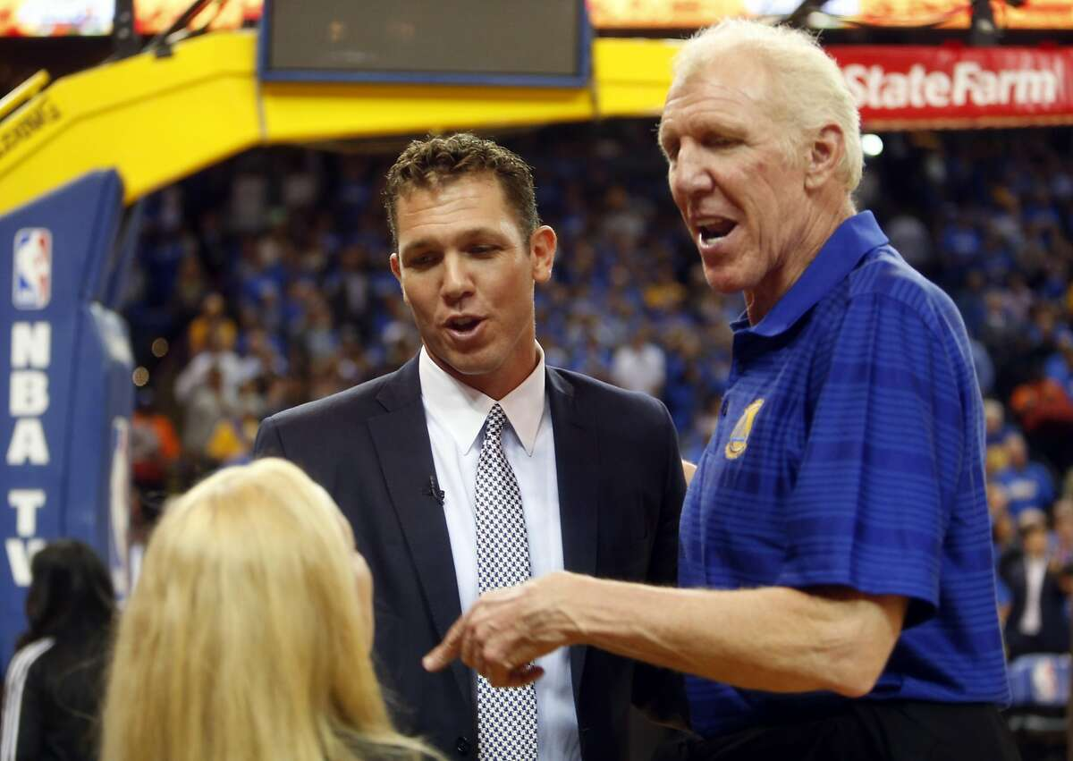 Golden State Warriors' interim head coach Luke Walton with father, Bill Walton, before game against New Orleans Pelicans at Oracle Arena in Oakland, Calif., on Tuesday, October 27, 2015.