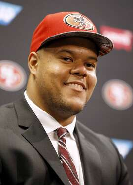 San Francisco 49ers NFL first round draft picks, Joshua Garnett, a guard from Stanford, answers questions during an NFL football news conference in Santa Clara, Calif., Friday, April 29, 2016. (AP Photo/Tony Avelar)
