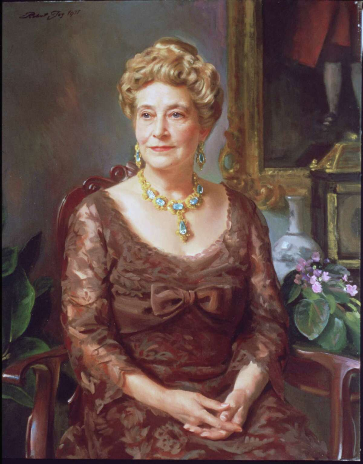 This painting of Ima Hogg, by Robert Joy, is at the Museum of Fine Arts, Houston. Hogg was a philanthropist who supported many causes, including the arts.