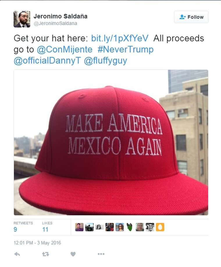 "credit: Twitter.com | Twitter.com/JeronimoSaldana""Make America Mexico Again"" hat is the perfect gift to anyone who has been inspired by Trump's rhetorics.Source: Twitter.com/JeronimoSaldana Photo: Twitter"