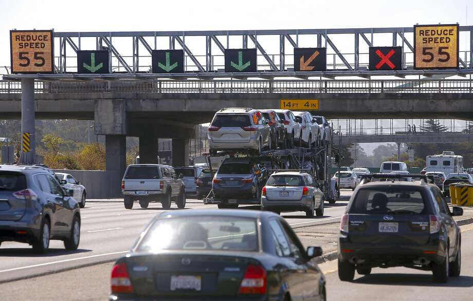 Electronic signs, set to go live this month as part of the new I-80 Smart Corridor system, will warn drivers of trouble. Photo: Michael Macor, The Chronicle