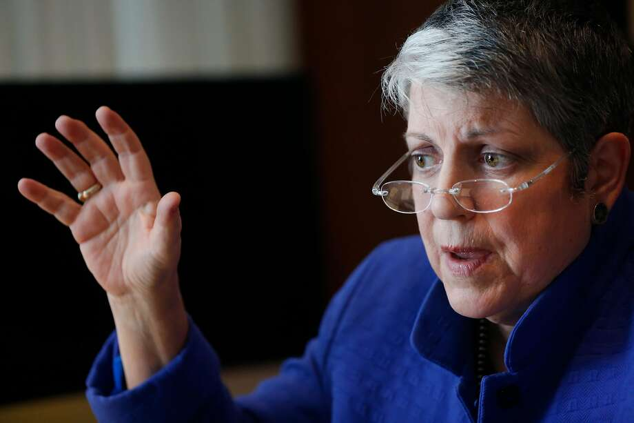 University of California President Janet Napolitano responds to questions during a Chronicle interview in her office May 5, 2016 in Oakland, Calif. Photo: Leah Millis, The Chronicle