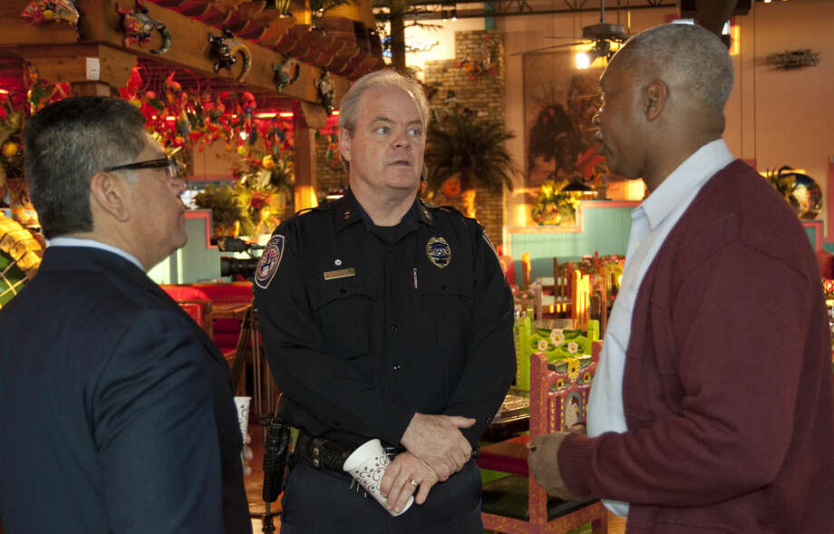 Mayor Jerry Morales and Police Chief Price Robinson talk with Roy Nelson Thursday, 3-19-15, morning at Rosa's on Big Spring during the Coffee with a Cop program for members of the community to meet with and talk about any issues with city officials. Tim Fischer\Reporter-Telegram Photo: Tim Fischer