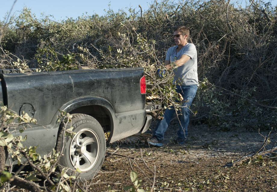 Joe Martin unloads a truck load of tree branches Monday, 01-05-15, at the Hogan Park drop off area for residents to dispose of limbs broken over the weekend from the ice strom that coated the area. Tim Fischer\Reporter-Telegram Photo: Tim Fischer
