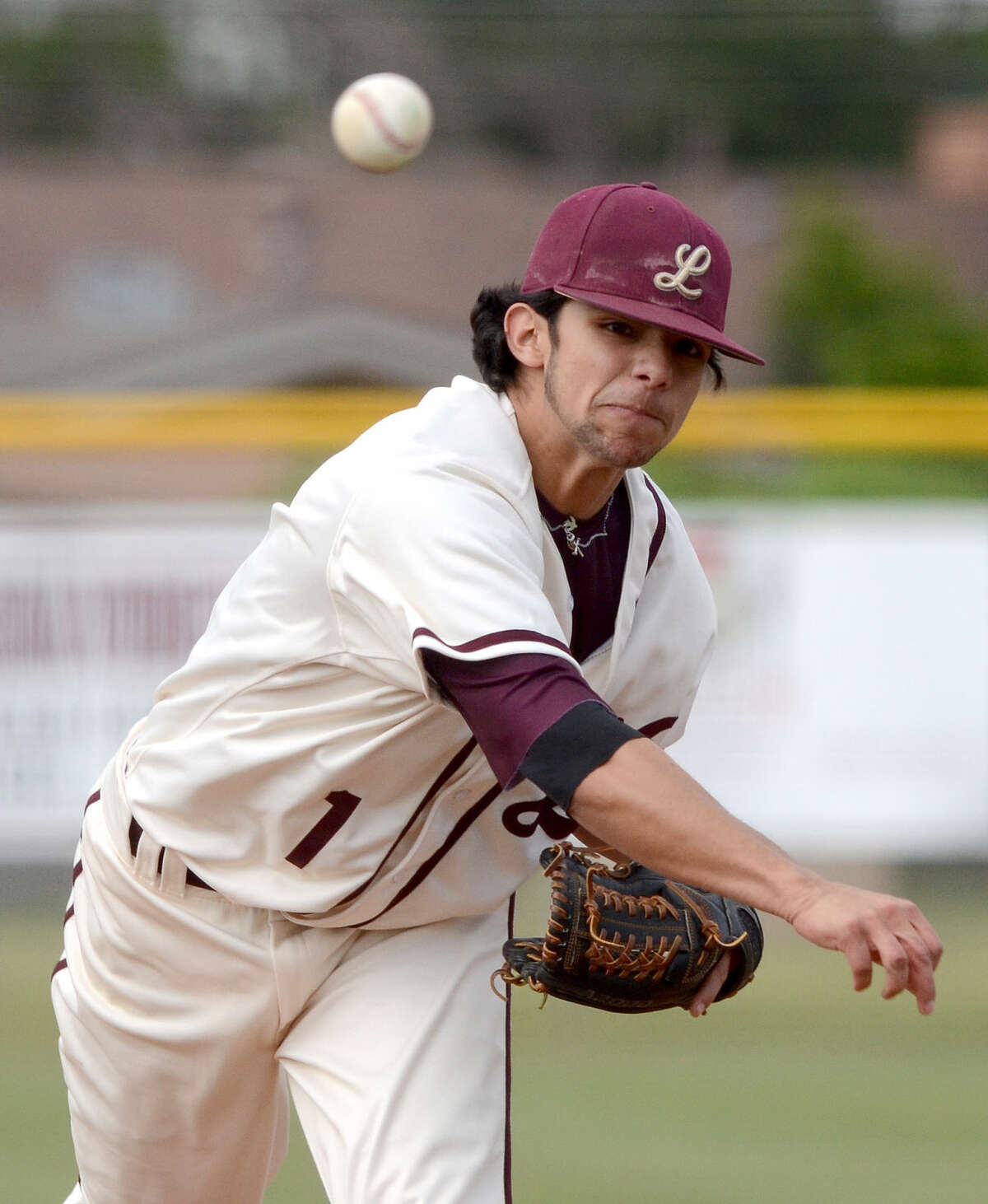 Lee High's Evan Mata pitches against San Angelo Central on Tuesday, April 28, 2015, at Ernie Johnson Field. James Durbin/Reporter-Telegram