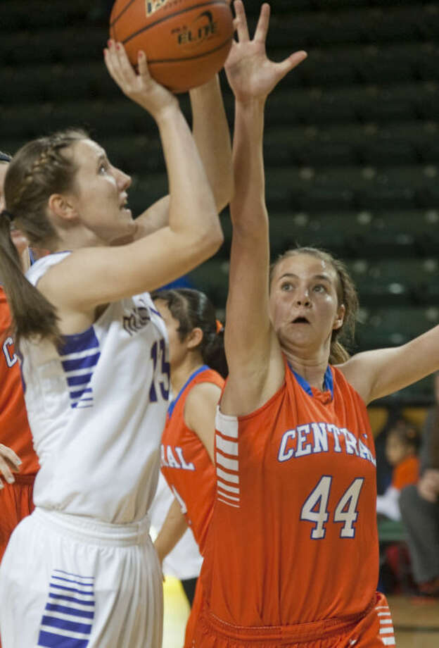 Aubrie Elliott takes a shot over a San Angelo Central defender Thursday night at Chaparral Center. Tim Fischer\Reporter-Telegram Photo: Tim Fischer