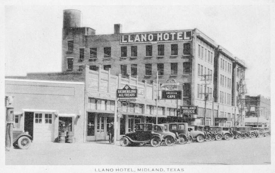 Llano Hotel - This early 1920s Paragon card advertises the Llano Hotel but also includes the American Café and the Ever Ready Filling Station in the photograph. In Blue Book narratives, mileage was central to navigation. Drivers purchased odometers and carefully tracked distances. Midland was designated as a point from which mileage was calculated, requiring drivers to stop and reset odometers. Businesses bought advertisements. strategically placed beside the text. Photo: Reprinted With Permission From 'Postcard History Series: Midland,' By James Collett And Doug Page.