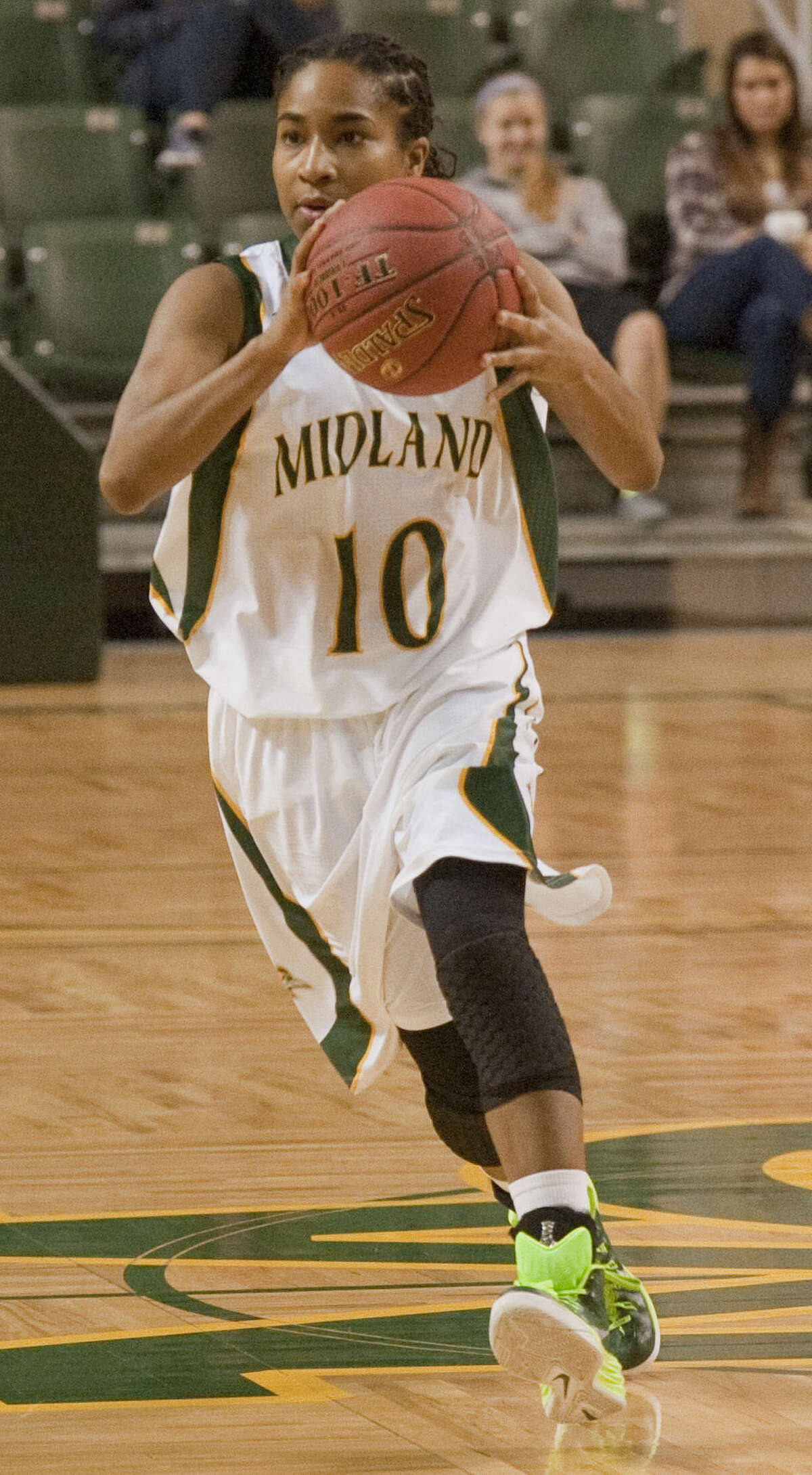 1-12-15: Tajanay Veiga dribbles down the court during Monday night's game against Western Texas College at Chaparral Center. Tim Fischer\Reporter-Telegram