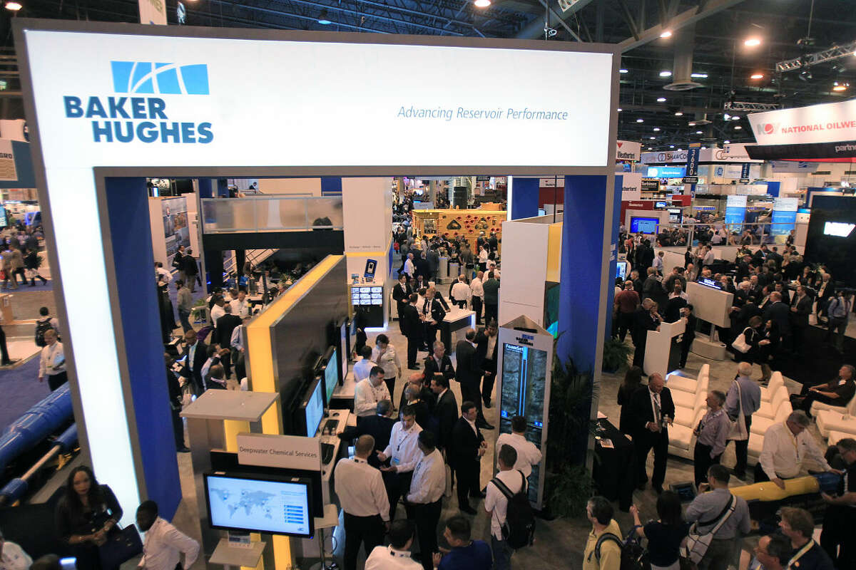 The Baker Hughes booth in the Offshore Technology Conference at NRG Park on May 5, 2014, in Houston, Tx. ( Mayra Beltran / Houston Chronicle )