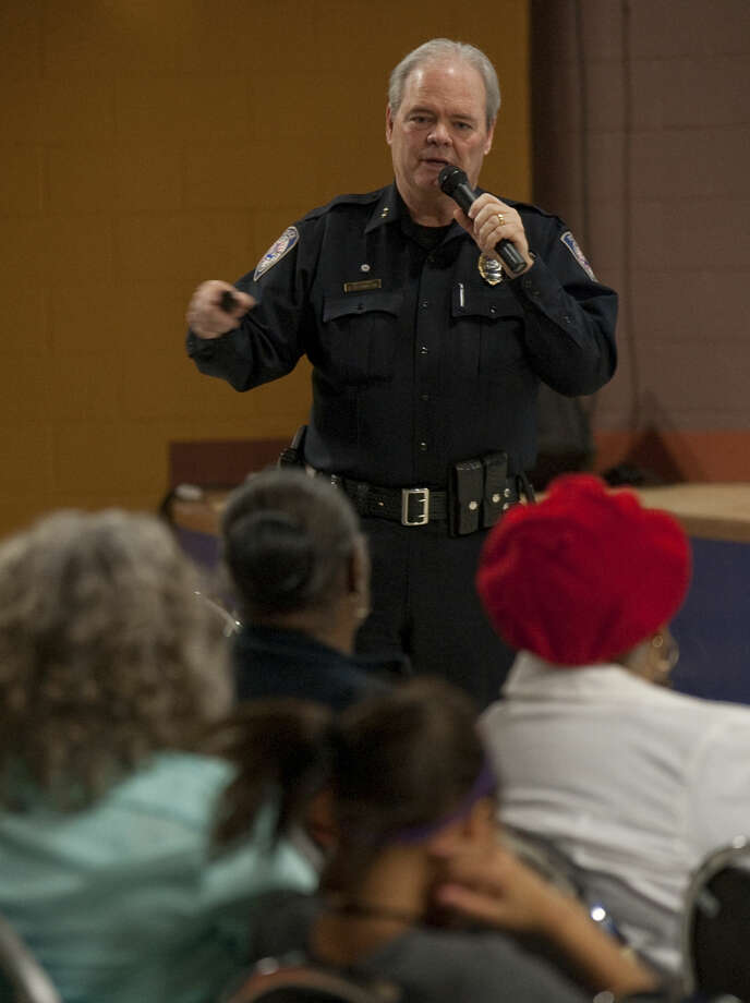 Midland Police Chief Price Robinson talks about the yearly crime statistics from the past few years during a town hall meeting Monday evening, 1-19-15, at the MLK Community Center. Tim Fischer\Reporter-Telegram Photo: Tim Fischer