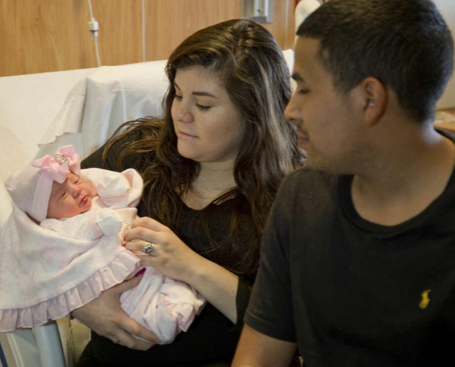 Daisy Brielle Lopez was born at 12:40 AM to Brittany Olivas Lopez and Romiro Lopez Friday 01-01-16. Tim Fischer\Reporter-Telegram Photo: Tim Fischer