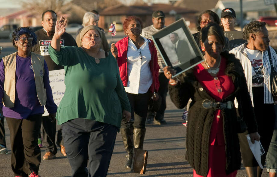 Midlanders join together for a symbolic march Monday, 1-19-15, to honor Dr. Martin Luter King Jr.. Tim Fischer\Reporter-Telegram Photo: Tim Fischer