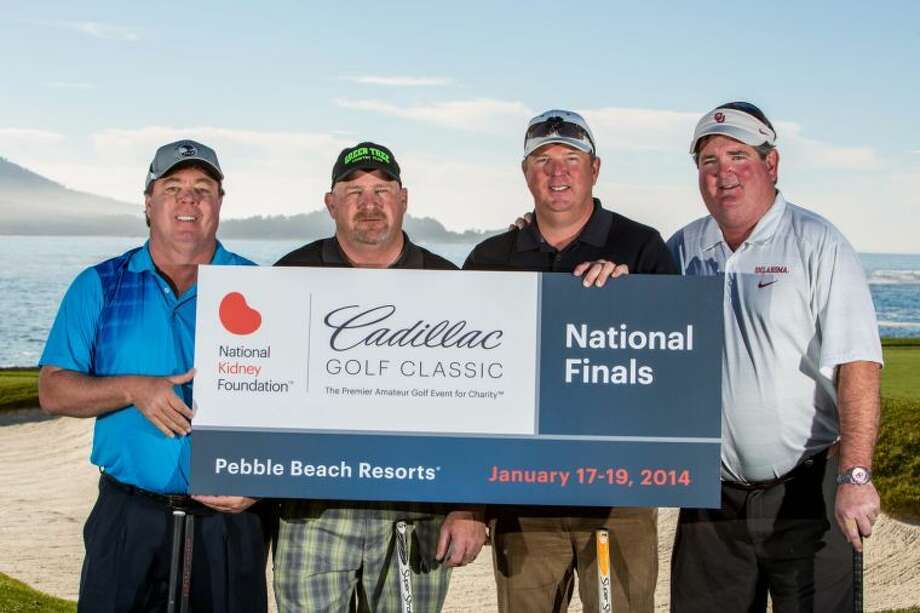 Second Place, 2014 NKF Cadillac Golf Classic, Pebble Beach, California - Midland Country Club, Midland, Texas - (left to right) Robert Booth, Kelly Grunewald, William Lewis and Scott Newland. Photographed on the 18th hole of Pebble Beach golf course. Photo: Sandra Garcia