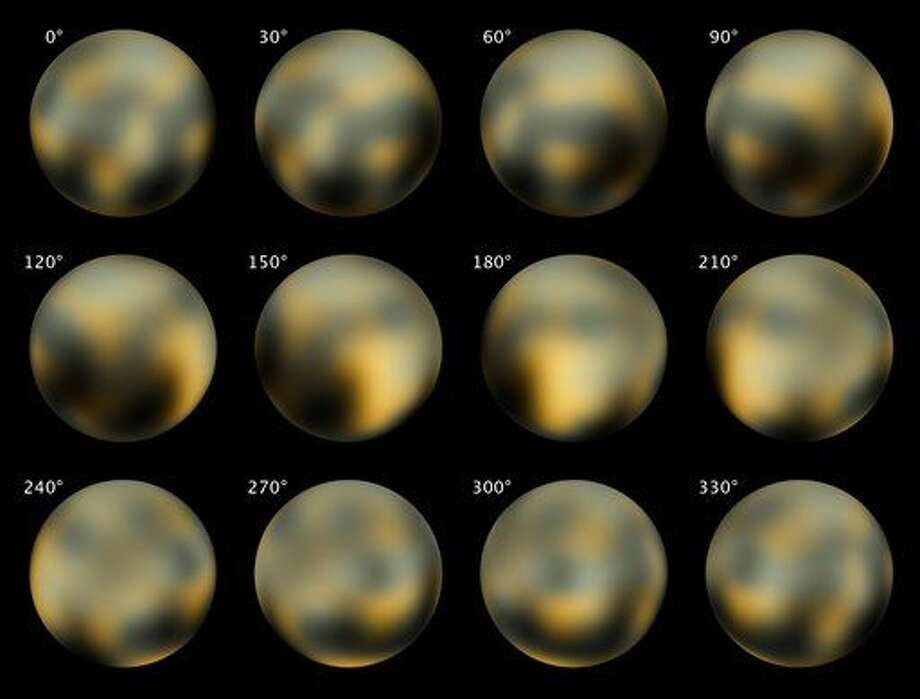 This combination of images made by NASA's Hubble Space Telescope in 2002 and 2003 shows Pluto at different angles. NASA's New Horizons spacecraft is nearing the end of its nine-year voyage to Pluto, and has just over 100 million miles to go before getting there in July 2015. Starting Sunday, Jan. 25, 2015, it will begin photographing the mysterious, unexplored, icy world once deemed a planet. (AP Photo/NASA, ESA, M. Buie) Photo: HOPD