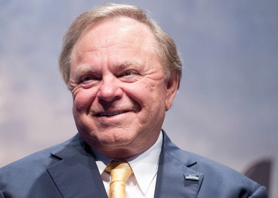 "Billionaire oilman Harold Hamm, chairman of Oklahoma City-based Continental Resources Inc., delivers his speech, ""Rock Steady in the Bakken"", Thursday, May 22, 2014 during the 22nd Williston Basin Petroleum Conference held in Bismarck, N.D. (AP PhotoKevin Cederstrom) Photo: Kevin Cederstrom"