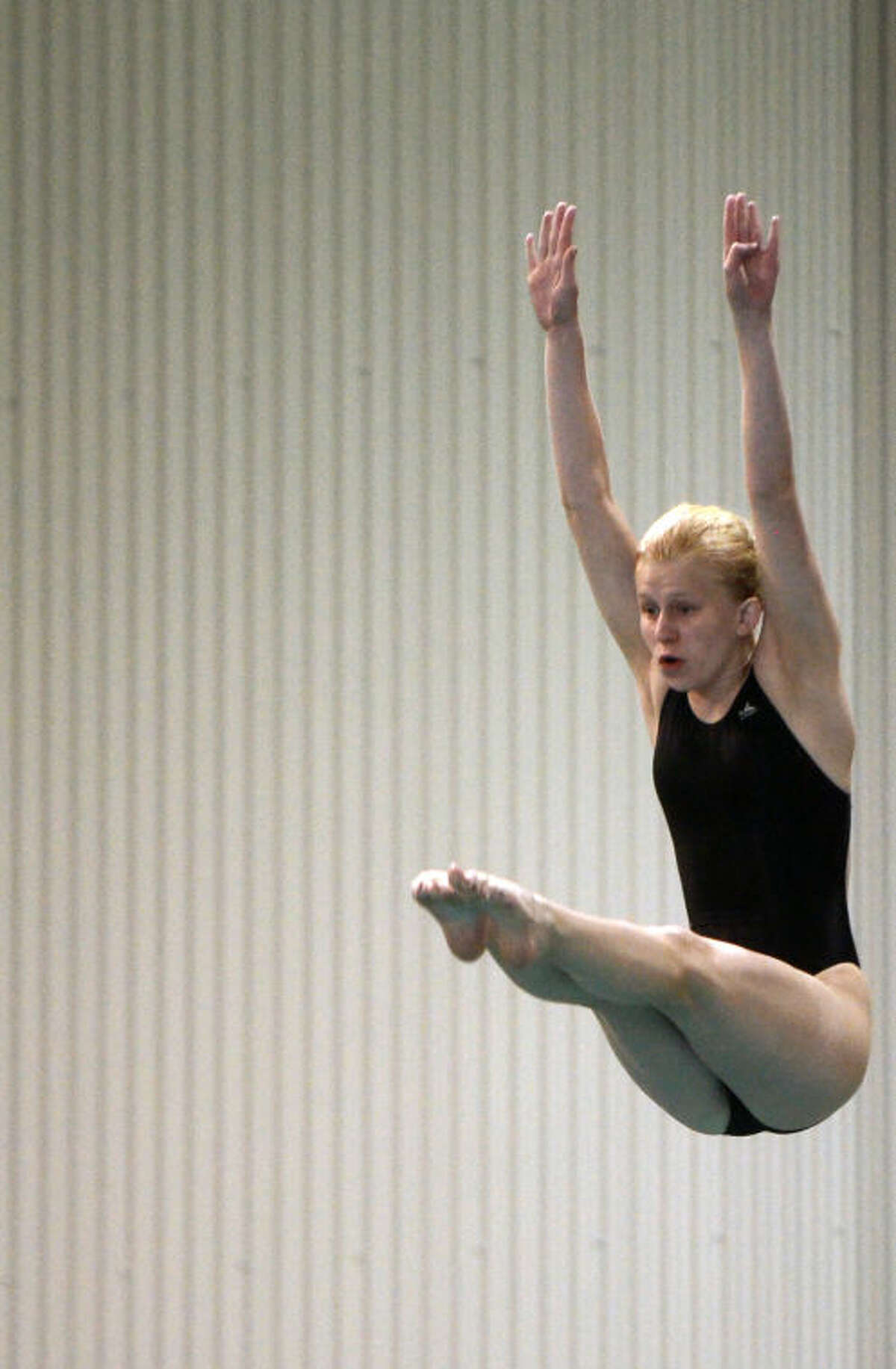 Haley Allen competes in a regional diving competition at Mabee Aquatic Center Friday. James Durbin/Reporter-Telegram