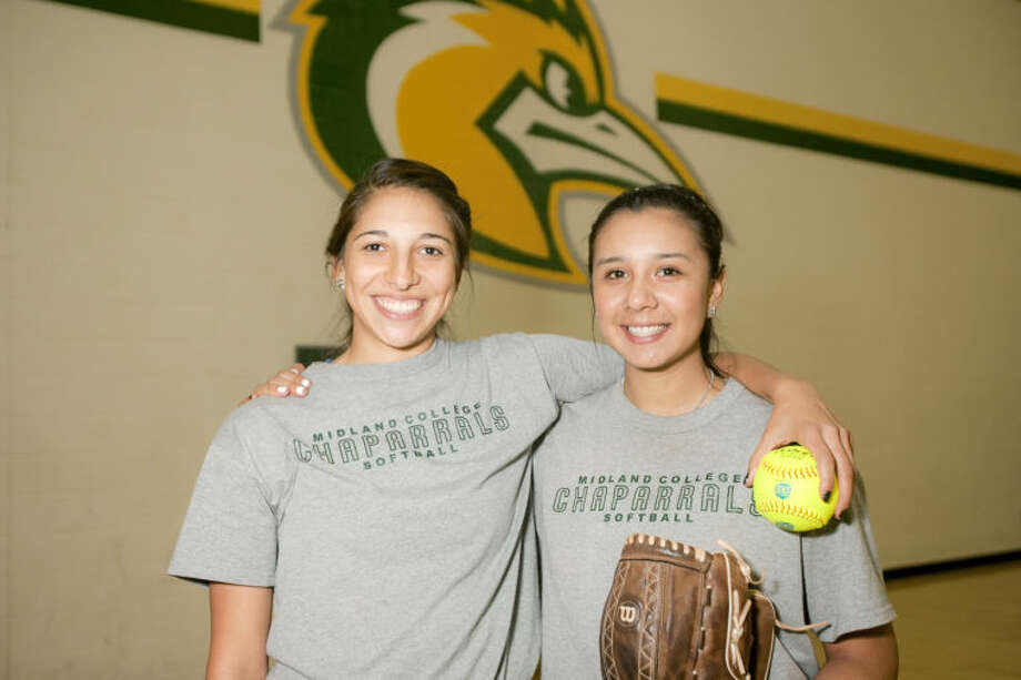 Portrait of Midland College softball players Kelcey Gomez and Naomi Posada, photographed Jan. 28, 2014 in the Midland College P.E. Building gym. James Durbin/Reporter-Telegram Photo: JAMES DURBIN