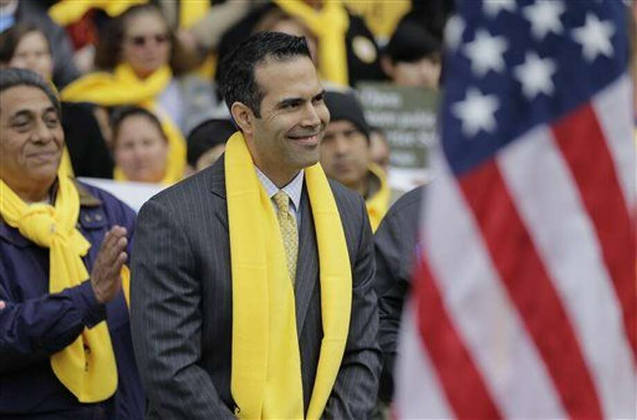 Texas Land Commissioner George P. Bush takes part in a school choice rally at the Texas Capitol, Friday, Jan. 30, 2015, in Austin, Texas. School choice supporters called for expanding voucher programs and charter schools statewide. (AP Photo/Eric Gay) Photo: Eric Gay