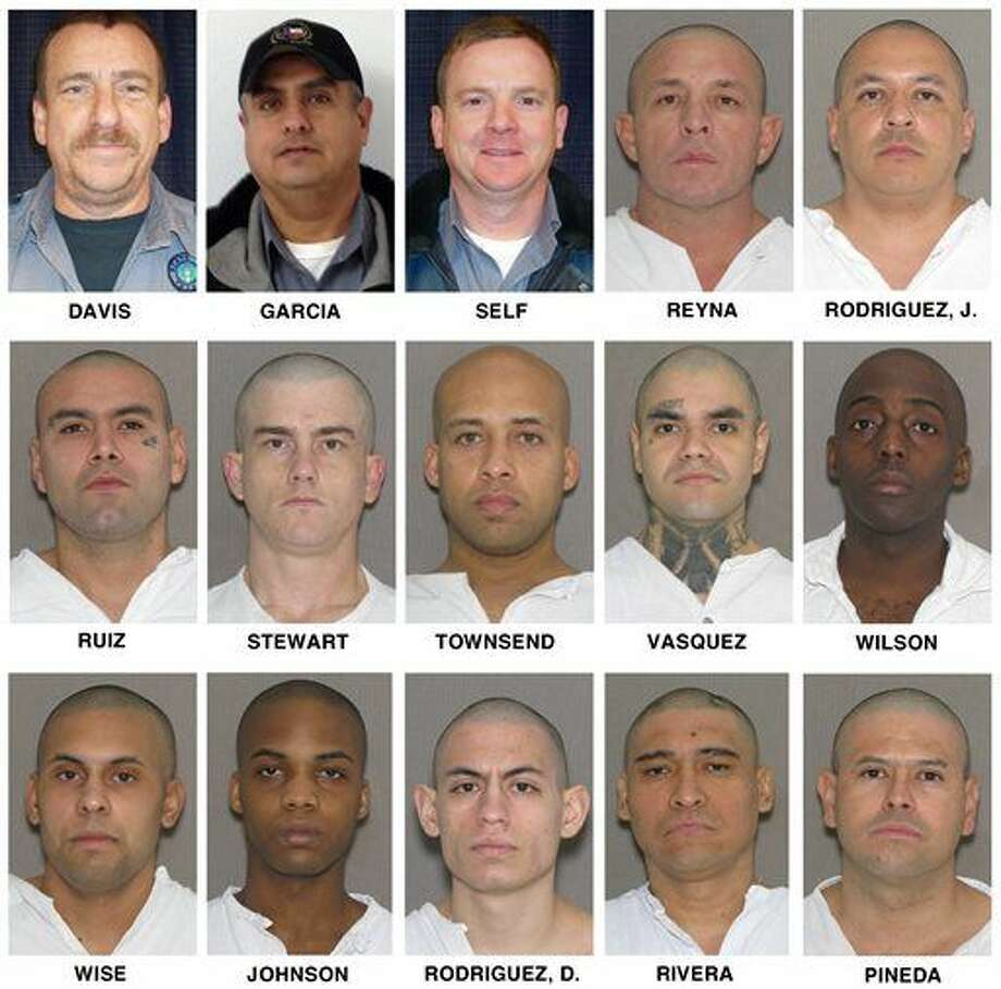 These undated images released by the Texas Department of Criminal Justice show those involved in a fatal bus crash on Wednesday, Jan. 14, 2015, in Penwell, Texas, killing at least 10 people. Top row, from left, correctional officers Christopher Davis, Eligio Garcia and Jason Self, and inmates, Jesus Reyna and Jeremiah Rodriguez; middle row, from left, inmates Adolfo Ruiz, Michael Stewart, Tyler Townsend, Angel Vasquez and Byron Wilson; bottom row, from left, inmates Kaleb Wise, Terry Johnson, Damien Rodriguez, Hector Rivera and Remigio Pineda. The surviving corrections officer, Jason Self, was in critical condition at a hospital in Lubbock. Inmates Johnson, Damien Rodriguez and Rivera were in critical condition in Odessa, while Pineda was in serious condition. (AP Photo/Texas Department of Criminal Justice) Photo: HOPD