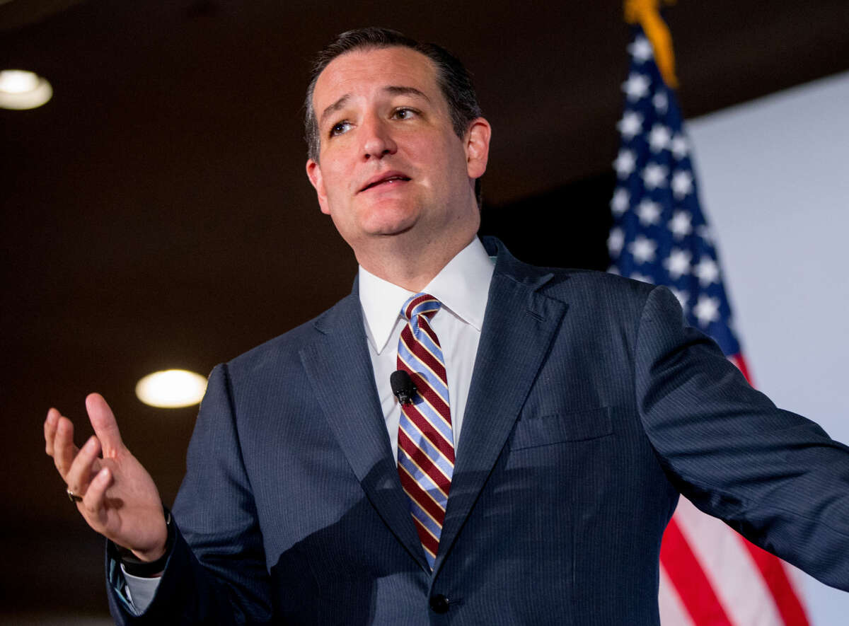 FILE - In this June 18, 2015 file photo, Republican presidential candidate, Sen. Ted Cruz, R-Texas speaks in Washington. Cruz's recent poll results earned him a place in the first prime time Republican presidential debate, Thursday. (AP Photo/Andrew Harnik, File)