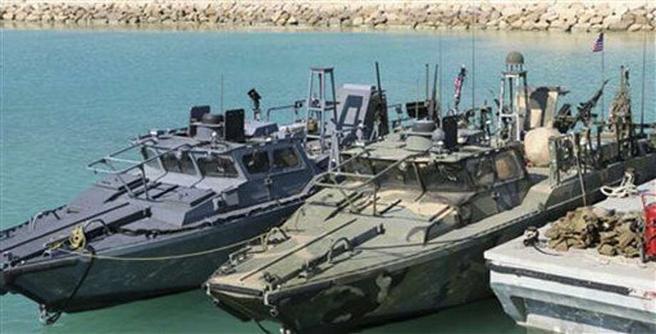 This picture released by the Iranian Revolutionary Guards on Wednesday, Jan. 13, 2016, shows detained American Navy sailors' boats in custody of the guards in the Persian Gulf Iran. Less than a day after 10 U.S. Navy sailors were detained in Iran when their boats drifted into Iranian waters, they and their vessels were back safely Wednesday with the American fleet. (Sepahnews via AP) Photo: Uncredited