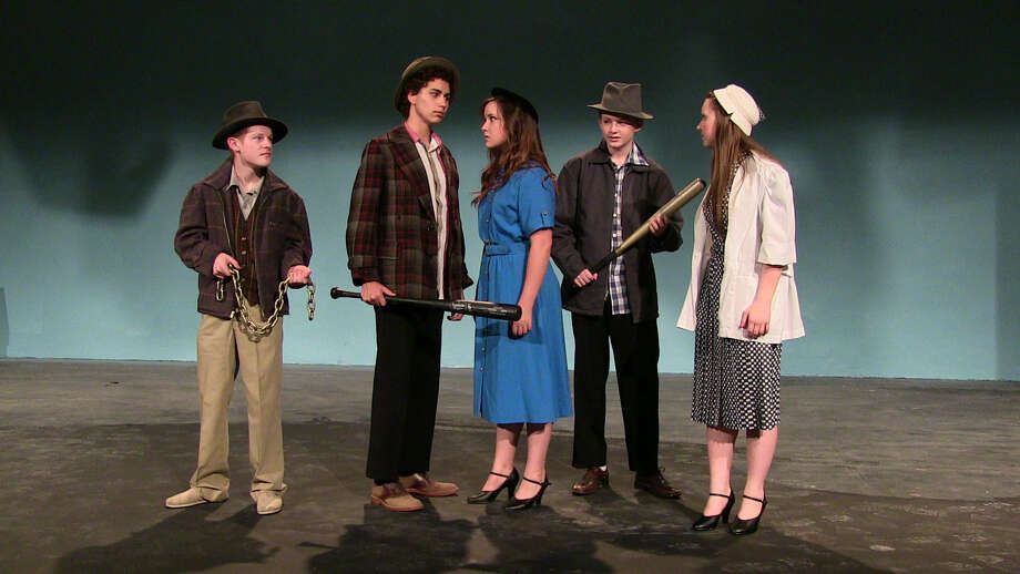 Mary (Samantha Shepherd) and Donna (Sydney Hobbs) are stopped by bandits (Wake Brown, Ben Rosen, and Josh Maguire) in Pickwick Players' 'War of the Worlds.' Photo: Courtesy MCT