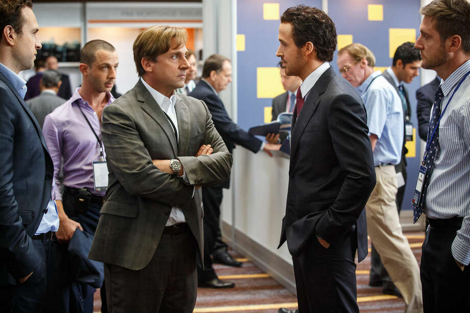 "This photo provided by Paramount Pictures shows, Rafe Spall, from left, as Danny Moses, Jeremy Strong as Vinnie Daniel, Steve Carell as Mark Baum, Ryan Gosling as Jared Vennett and Jeffry Griffin as Chris, in the film, ""The Big Short,"" from Paramount Pictures and Regency Enterprises. The movie opens in U.S. theaters on Dec. 23, 2015. (Jaap Buitendijk/Paramount Pictures via AP) Photo: Jaap Buitendijk"