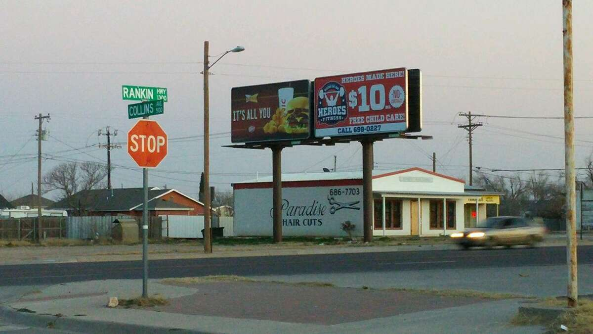The intersection of Rankin Highway and Collins Avenue is one of three sites where Lockridge Outdoor Advertising wanted to build a billboard, was did not get approval from City Council. The billboard company is suing the city of Midland, claiming that it did not have to apply for the separate permit that the council did not approve and the city illegally put billboard permit applications on hold to move forward on restrictive billboard ordinance revision.