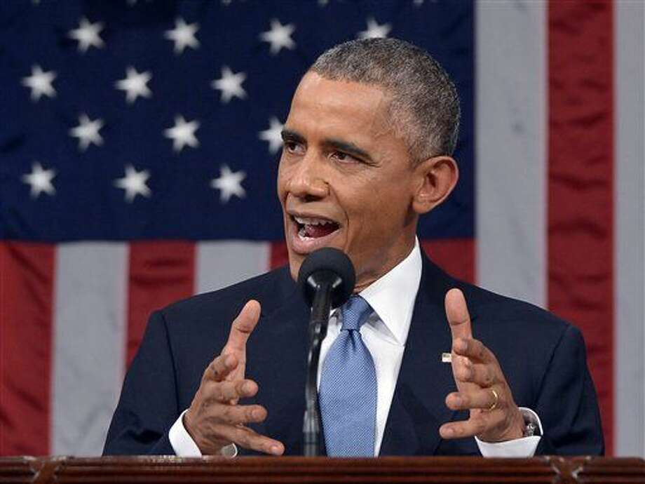 President Barack Obama delivers his State of the Union address to a joint session of Congress on Capitol Hill on Tuesday, Jan. 20, 2015, in Washington. (AP Photo/Mandel Ngan, Pool) Photo: MANDEL NGAN