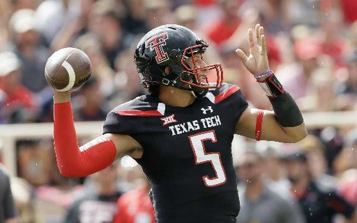Texas Tech quarterback Patrick Mahomes warms up before an NCAA college football game against TCU Saturday, Sept. 26, 2015, in Lubbock, Texas. (AP Photo/LM Otero)