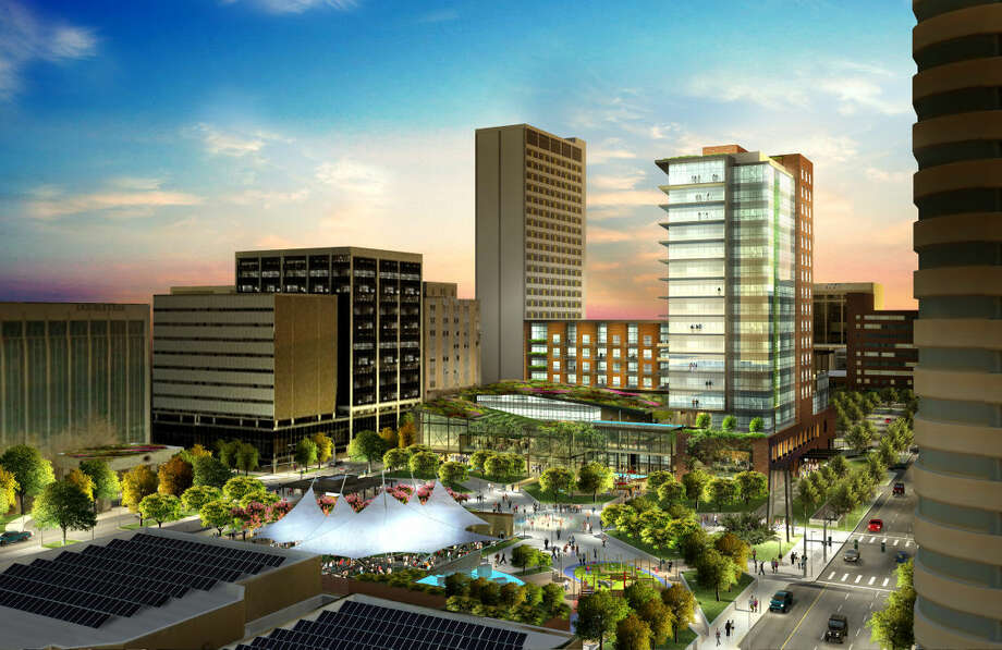 You can improve and make Midland beautiful. It is expected in three years you can buy the Hotel Santa Rita development. The development is estimated to cost $100 million upon completion Photo: Courtesy Rendering