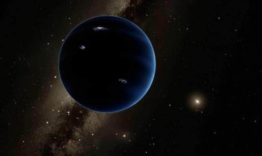"This artistic rendering provided by California Institute of Technology shows the distant view from Planet Nine back towards the sun. The planet is thought to be gaseous, similar to Uranus and Neptune. Hypothetical lightning lights up the night side. Scientists reported Wednesday, Jan. 20, 2016, they finally have ""good evidence"" for Planet X, a true ninth planet on the fringes of our solar system. (R. Hurt/Infrared Processing and Analysis Center/Courtesy of California Institute of Technology via AP) Photo: R. Hurt"