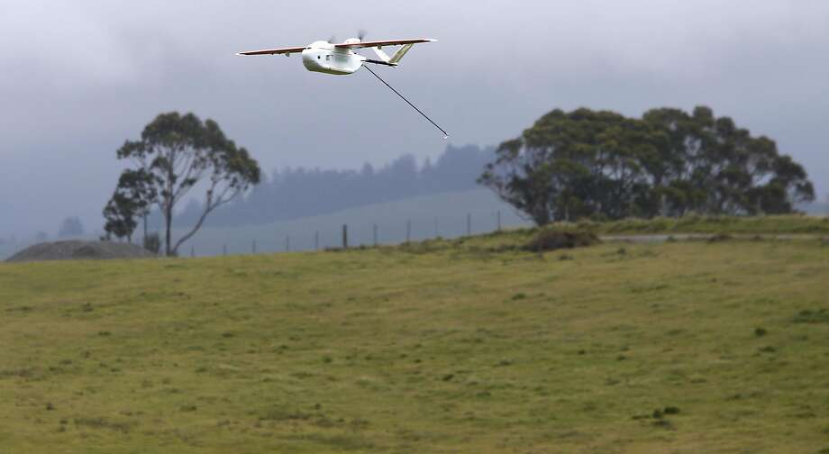 A Zipline drone airplane flies during a test flight in Half Moon Bay, Calif. on Thursday, May 5, 2016. Zipline, the Gavi Vaccine Alliance and UPS are forming a partnership to deliver vaccines and other critical medical supplies to remote areas of Rwanda and other Third World countries using drone aircraft. Photo: Paul Chinn, The Chronicle
