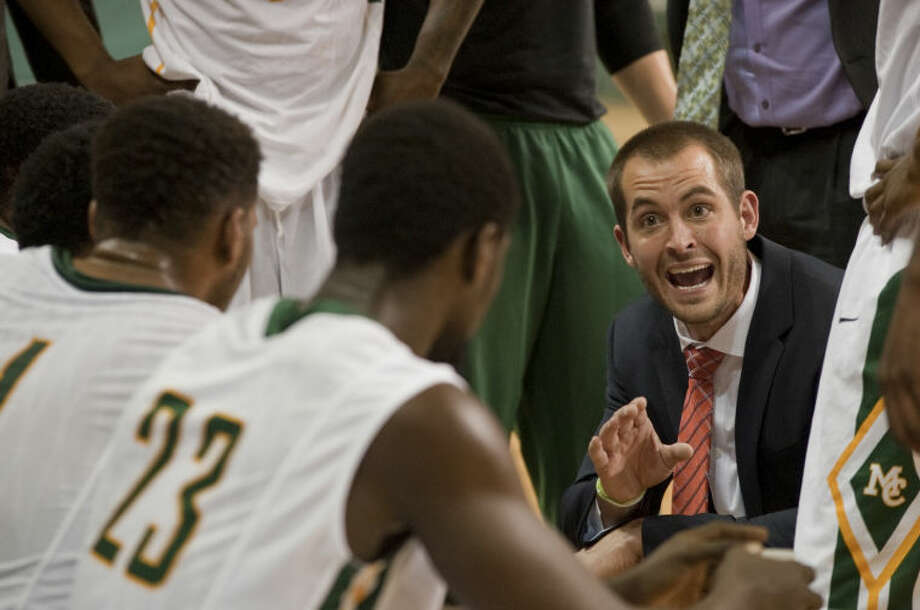 Midland College mens basketball coach Jordan Dreiling talks with his players during a timeout Monday at Chaparral Center. Tim Fischer\Reporter-Telegram Photo: Tim Fischer
