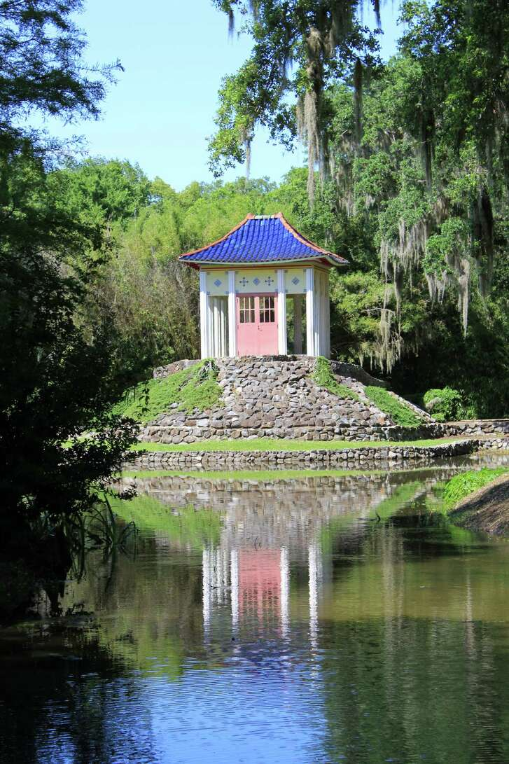 A shrine is nestled among the flora and fauna at Jungle Gardens on Avery Island.