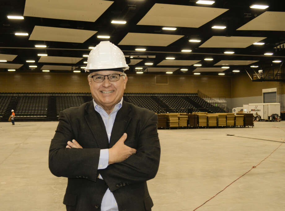 Mike Dooley shows off the new Horseshoe Pavilion as work continues to prepare the new space for the first use this weekend. Tim Fischer\Reporter-Telegram Photo: Tim Fischer